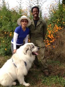 Farmer Chris with Panda and Mayflor Farms owner Mayflor Chokshi