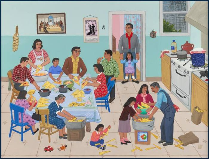 Maybe the most sacred space in your home is not the yoga room, or the altar with the candle, or the chair by the window where you meditate and pray. Maybe the most sacred room in your house is the kitchen. Painting: Tamalada by Carmen Lomas Garza, from her website http://carmenlomasgarza.com/